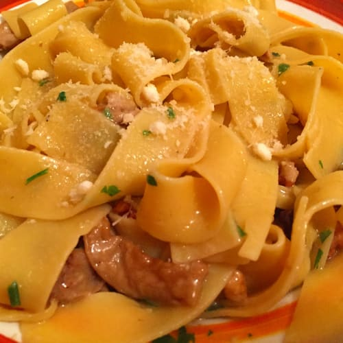 Egg Pappardelle with porcini mushrooms and nuts