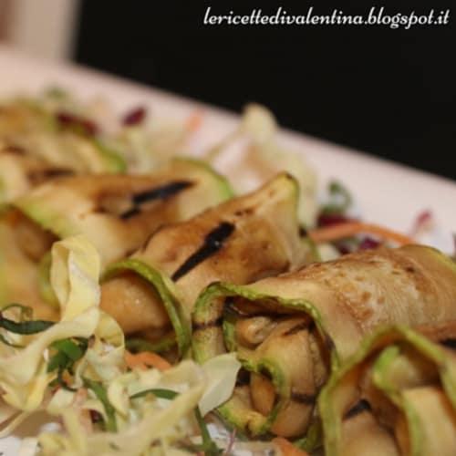 Trino de calabacín a la plancha y verduras anacardo queso