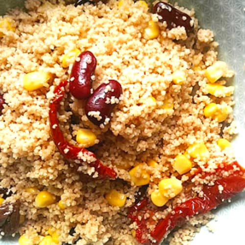 Cous cous Spelled with vegetables and legumes