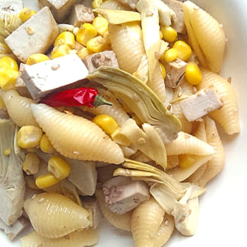 Shells with artichokes tofu and corn