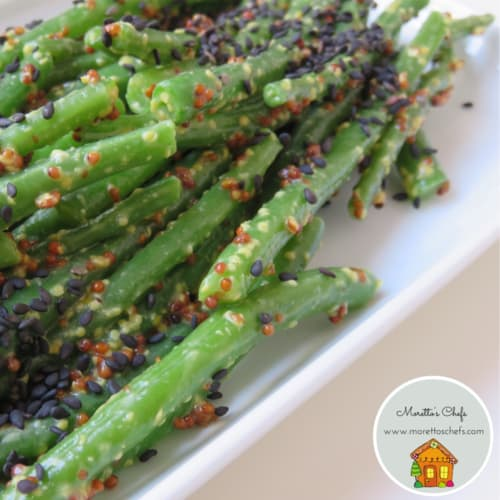 Green beans with mustard and crispy sesame