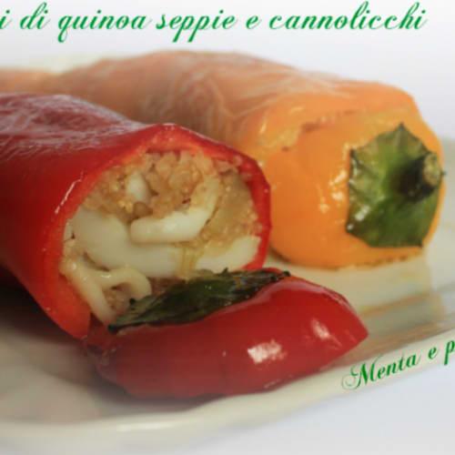 Peperoni cornelio ripieni di quinoa seppie e cannolicchi