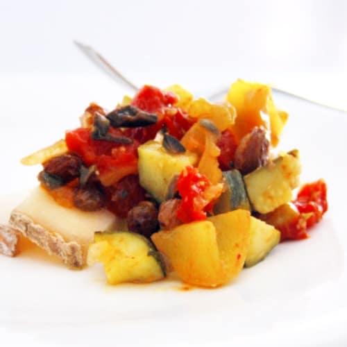 calabacín y tomate aperitivo agridulce verano