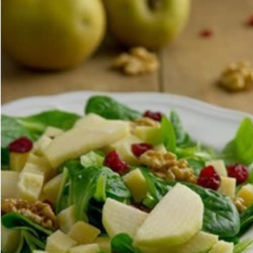 slow salad with walnuts
