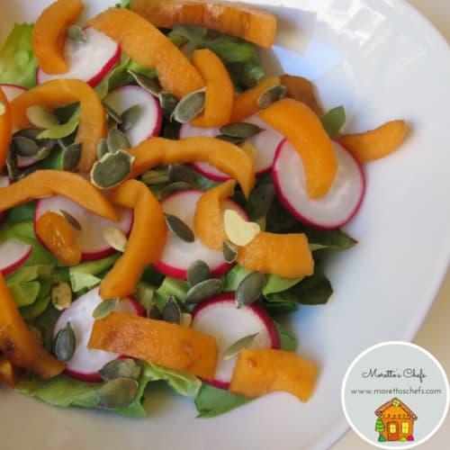 medlar and radish salad with pumpkin seeds