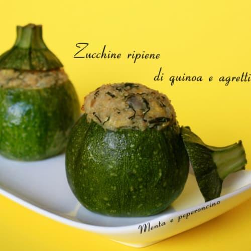 Zucchine rotonde ripiene di quinoa e agretti