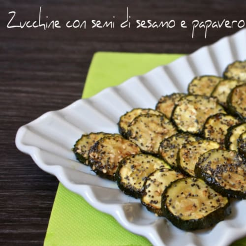 Courgettes with sesame seeds and poppy seeds