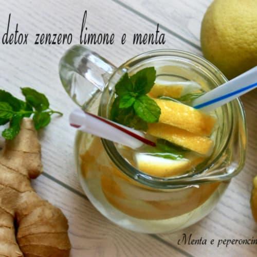 Acqua detox limone menta e zenzero