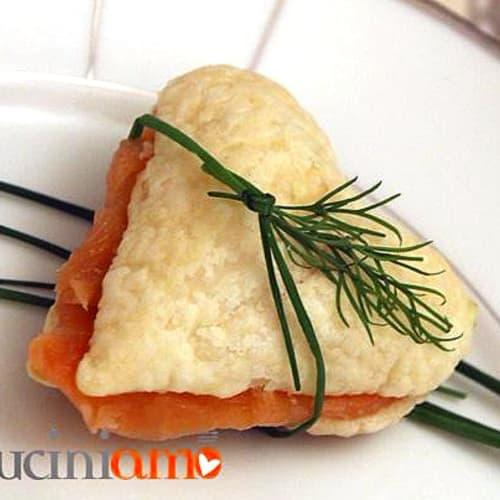 Corazones de pasta y salmón