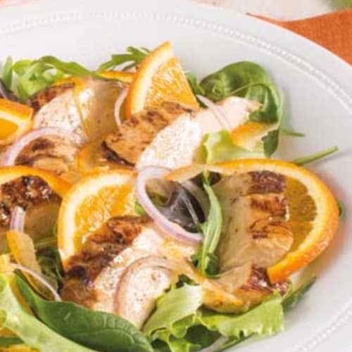 Appetizer chicken and oranges