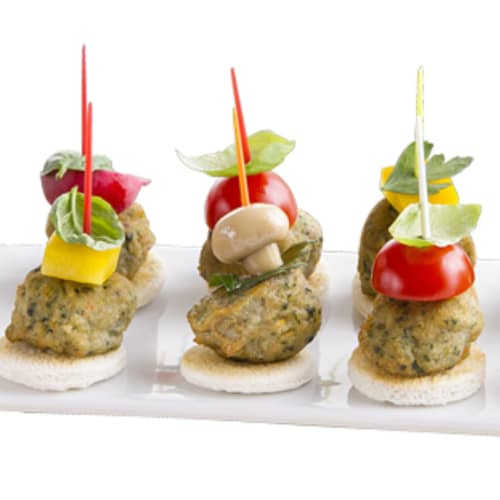 Mini meatball skewers and vegetables