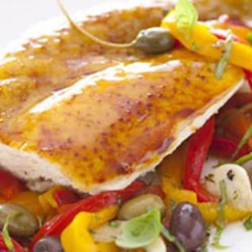 tasty chicken with peppers