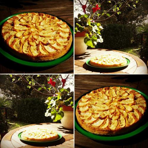 pastel de principios de otoño con calabaza y manzana