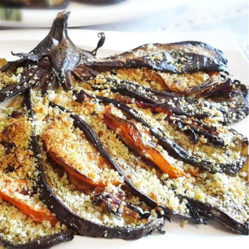 Fan gratin baked eggplant