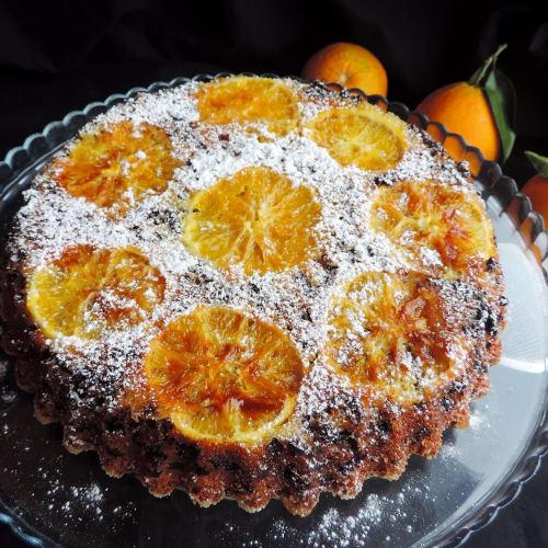 Naranja invertida torta para la Navidad