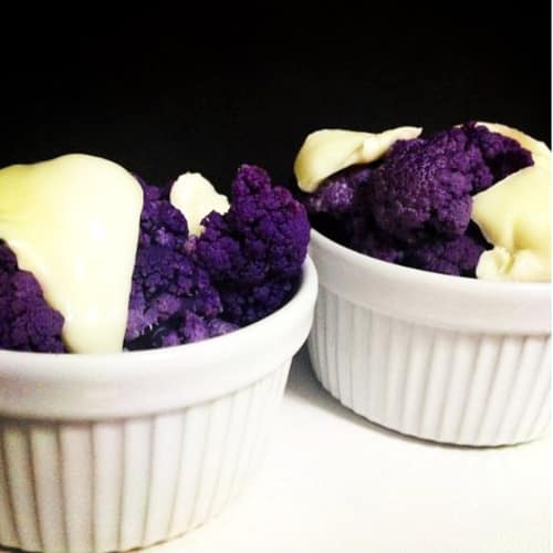 crema de coliflor púrpura