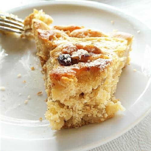 Apple pie and yogurt with nuts hazelnuts and cinnamon