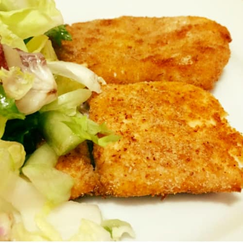 Slices of breaded salmon