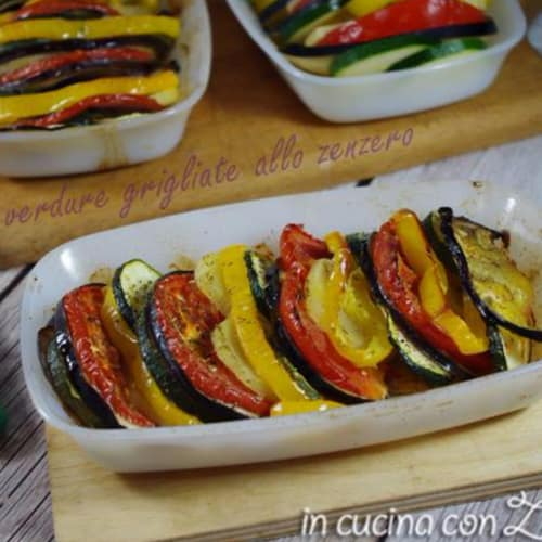 Las verduras al horno en el jengibre