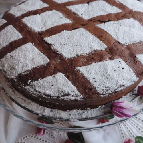 pastel de leche caliente con chocolate negro