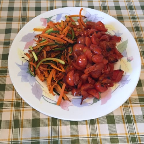 Spaghetti with zucchini and carrots and roasted cherry tomatoes