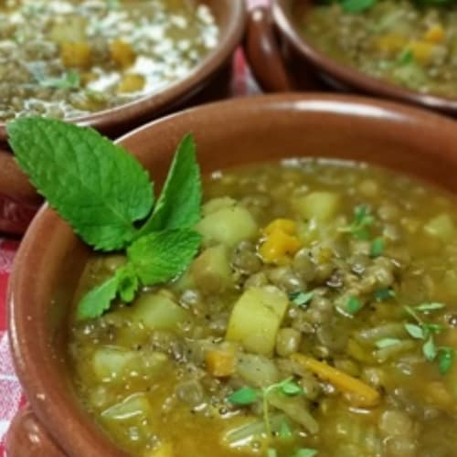 Lentil soup and potatoes
