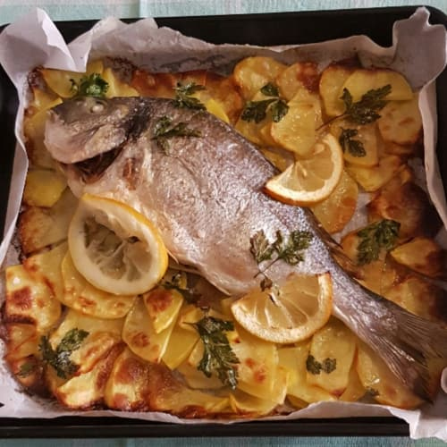 Sea bream baked