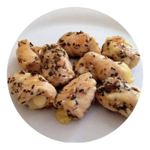 Chicken morsels and Emmental cheese with butter and sage