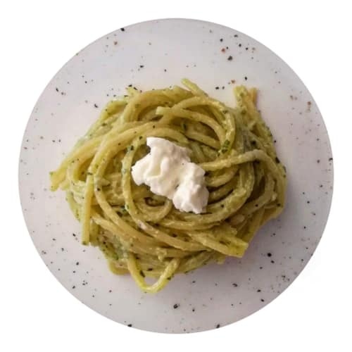 Corn Spaghetti with ricotta and pesto
