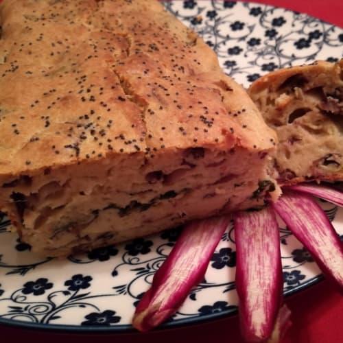 Plumcake fluffy with ricotta and radicchio