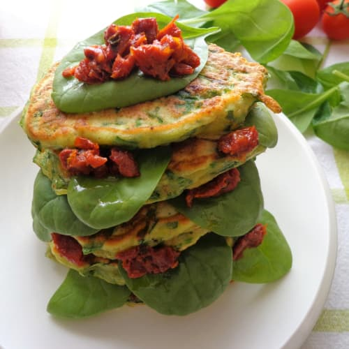 Pancake con spinaci, prosciutto crudo e ricotta