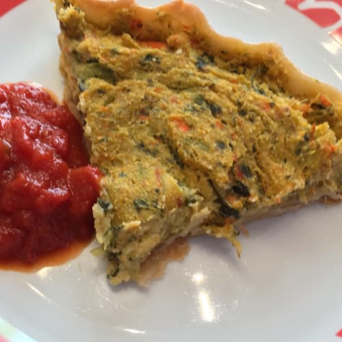 pie with vegetables and sauce