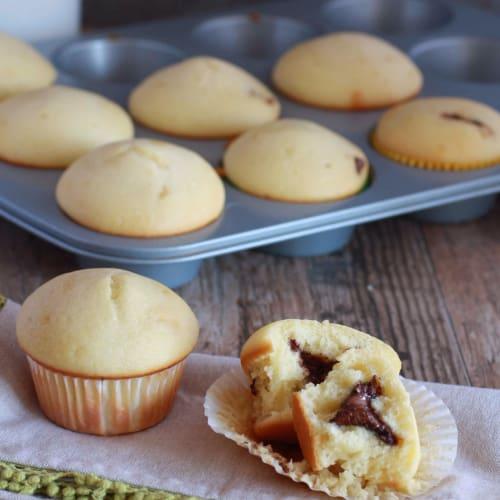 Muffins con corazón de yogur de Nutella