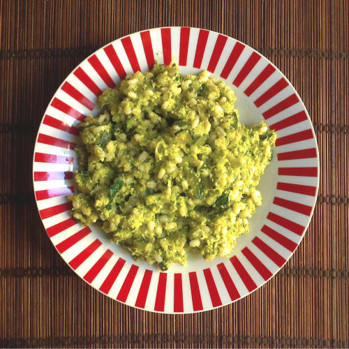 Creamy Orzo with lupins and zucchini