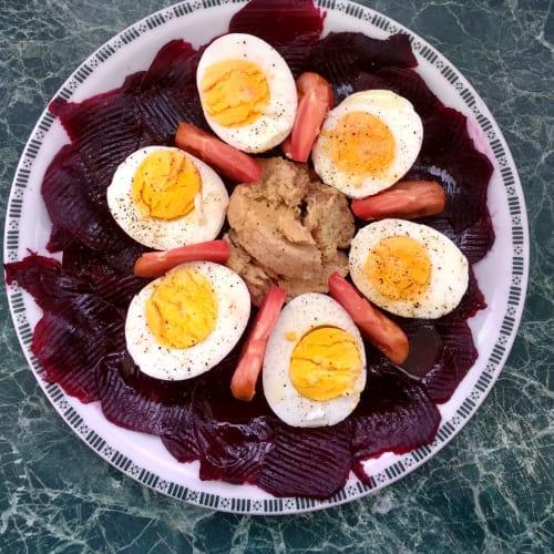 Huevos cocidos a la vista