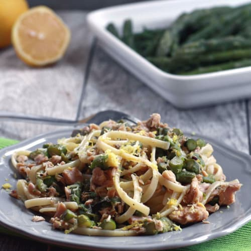 Asparagus Pasta, tuna and lemon