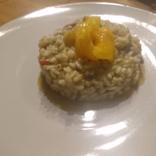 sardinas y risotto de mango