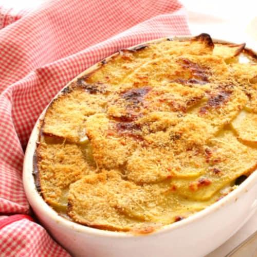 Patatas y timbal de calabacín