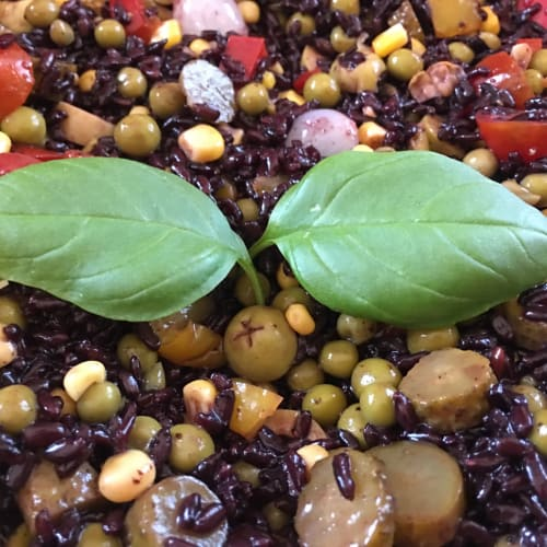 Organic rice salad salad