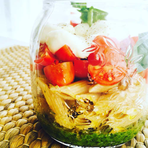 Pasta salad in jar
