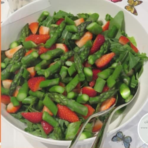 Strawberry salad and asparagus
