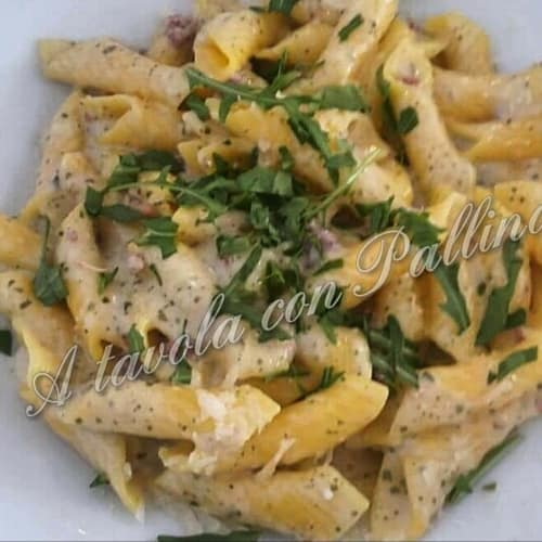 Garganelli with egg speck and rocket