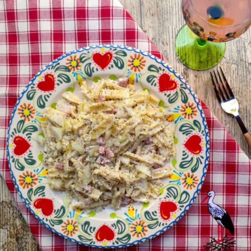 Lasagnette Flammekueche gusto alsaciana con crema, cebolla, tocino