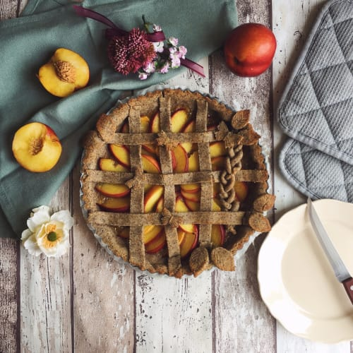 Peach tarta vegetariana y libre de gluten