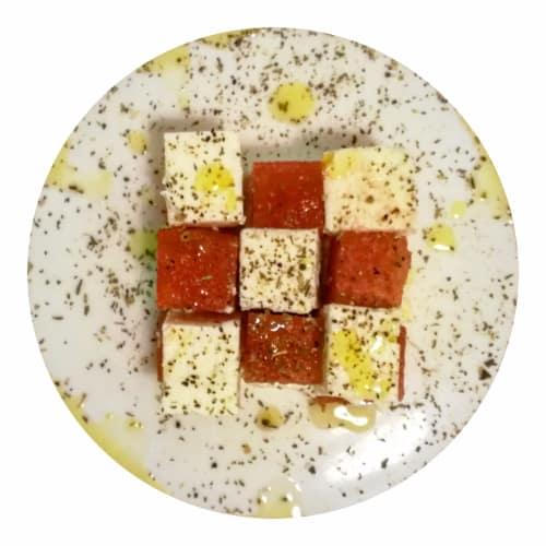 sandía y queso feta Rubik