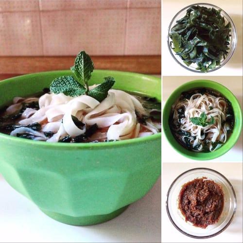 sopa de miso con algas wakame