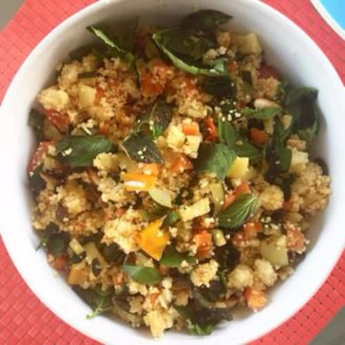 Salad with cous cous with mint