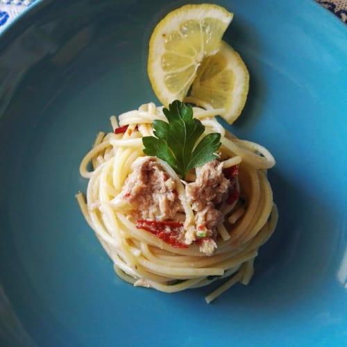 atún y limón espagueti