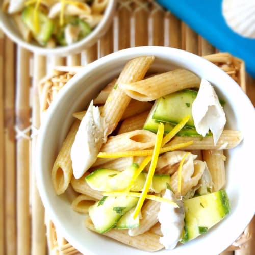 Cold pasta with mackerel and pickled zucchini