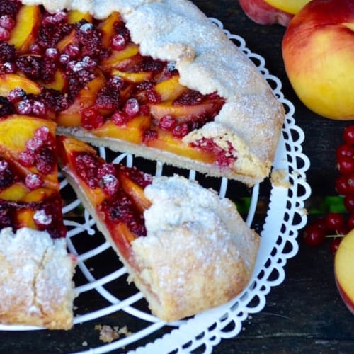 Galette with Red Peaches and Fruits